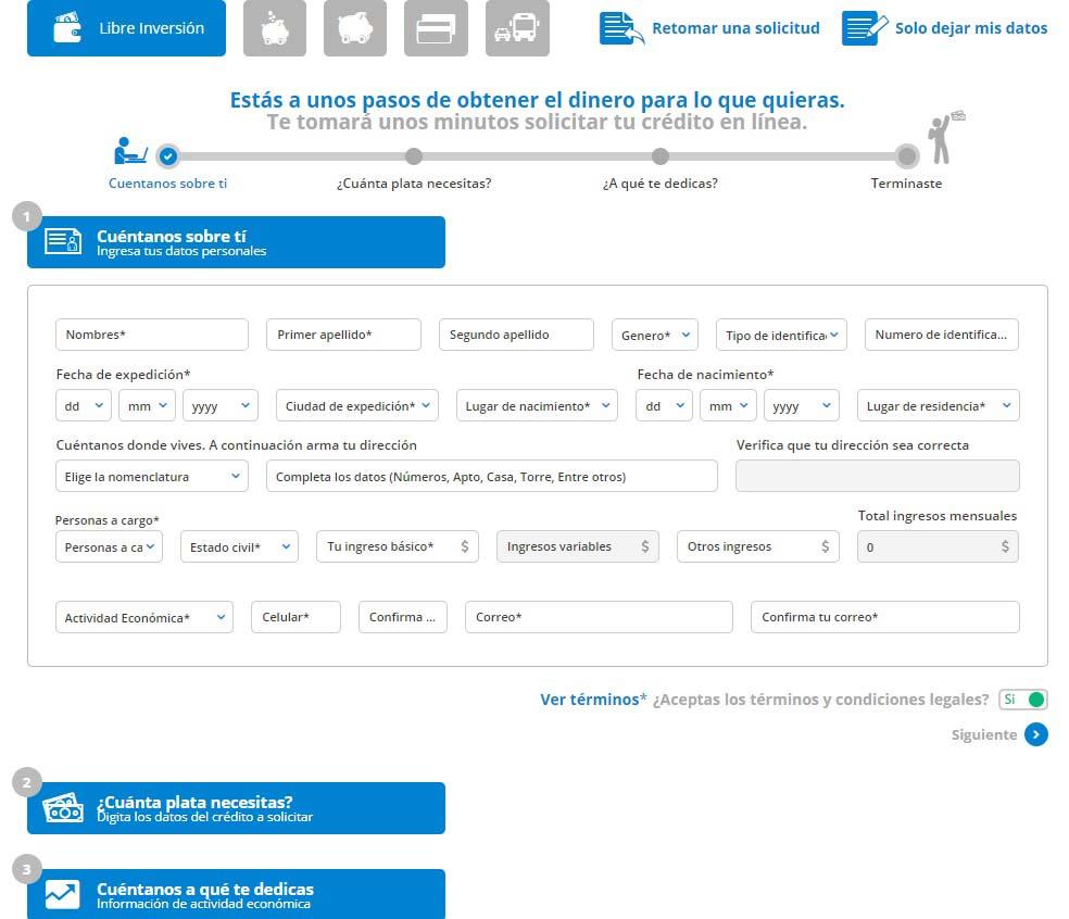 préstamo online Banco finandina