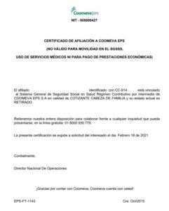 paso 3 eps Coomeva certificado